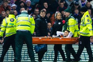 Kyle Magennis is carried off on a stretcher. Picture: SNS