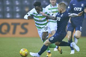 Kilmarnock's Alan Power fouls Celtic's Jeremie Frimpong. Picture; Rob Casey/SNS