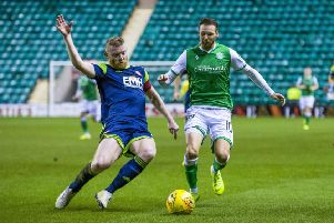 Martin Boyle, taking on Hamilton Accies' Brian Easton on Wednesday night, laid on Hibs' winning goal for Paul Hanlon. Picture: SNS.