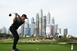 Eddie Pepperell plays from the eighth tee during day two of the Omega Dubai Desert Classic. Picture: Ross Kinnaird/Getty Images