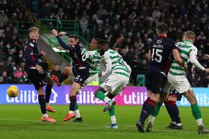 Odsonne Edouard puts Celtic 2-0 in front against Ross County shortly after coming on as a second-half substitute. Picture: Andrew Milligan/PA