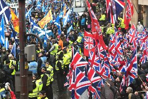 A nation divided: nationalist and unionist protesters take to the streets in Glasgow (Picture: John Devlin)