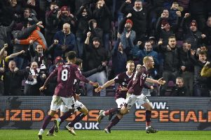 Tynecastle erupts as Liam Boyce celebrates his late winner against Rangers. Picture: Rob Casey/SNS