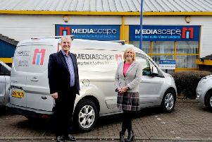 Shona and Angus Knight, the owners of Mediascape, decided to sell their shares to an employee ownership trust. Picture: Colin Hattersley