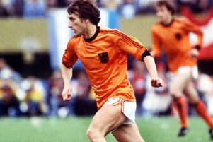 Rob Rensenbrink in full flow for Netherlands against Argentina in the 1978 World Cup final. Picture: Colorsport/Shutterstock