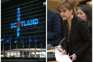 Ms Sturgeon took to Twitter last night to share an image of the projection. Picture: Nicola Sturgeon/Twitter/TSPL