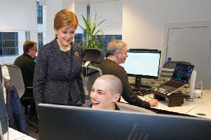 First Minister Nicola Sturgeon at the Encompass office in Glasgow. Picture: Scottish Enterprise