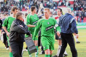 Neil Lennon glares at a ballboy as he walks off the pitch after Celtic suffered a 2-1 Scottish Cup defeat by tomorrow's opponents Clyde. Picture: SNS.