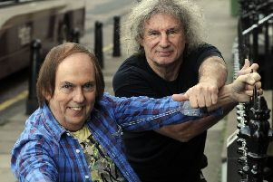 Dave Hill, in the blue shirt, and Don Powell now have their own separate versions of 70s glam rockers Slade (Picture: Greg Macvean)