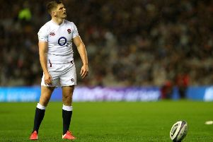 England's Owen Farrell in contemplative mode as he lines up a penalty at BT Murrayfield Stadium. He missed. Picture: David Davies/PA Wire