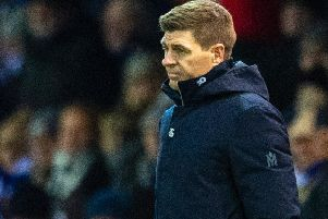 Rangers manager Steven Gerrard watches on as his side lose to Kilmarnock. Picture: SNS