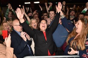 Sinn Fein leader Mary Lou McDonald celebrates winning a seat in the Irish parliament (Picture: Charles McQuillan/Getty Images).