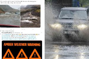An amber warning was in place for heavy rainfall and strong winds since noon today and is expected to last all day    picture: supplied