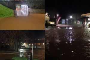 Areas of Jedburgh that are currently flooded as storm Dennis hits the Scottish Borders picture: Social Media