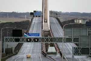 A patrol vehicle crosses The Queensferry Crossing after it was closed due to bad weather, South Queensferry. PA Photo. Picture date: Tuesday February 11, 2020. Crossing operators Amey closed the key route until further notice as a safety precaution due to ice falling from the cables. Eight cars were damaged in severe weather on Monday. See PA story WEATHER Storm Scotland. Photo credit should read: Andrew Milligan/PA Wire