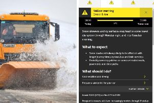 Snow showers and icy surfaces may lead to some travel disruption and anyone wishing to travel during the bad weather is urged to with caution   picture: GettyImages and Met Office