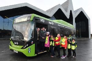 Pupils from St Joseph's Primary School help launch First Glasgow's new fully electric buses (Picture: John Devlin)