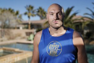 Tyson Fury in Las Vegas ahead of his heavyweight showdown with American Deontay Wilder at the MGM Grand. Picture: John Locher/AP