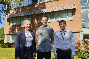 Edge Testing MD Sharon Hamilton with academy graduates Grant Martin and Stuart Dougans. Picture: Contributed