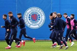 Rangers players at the Hummel Training Centre. Picture: Andrew Milligan/PA Wire