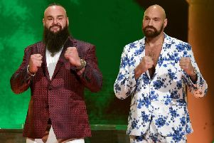 Teaming up with the WWE was a natural move for the larger-than-life Tyson Fury. Picture: Ethan Miller/Getty Images