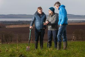 From: Heathrow director of sustainability Matt Gorman, Helaina Black of the James Hutton Institute and Stewart Arbuckle, co-founder Dundee's Agricarbon. Picture: Contributed