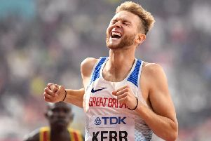 Josh Kerr reacts as he crosses the line in the 1500m semi-final at the 2019 World Championships. Picture: Jewel Samad/AFP via Getty