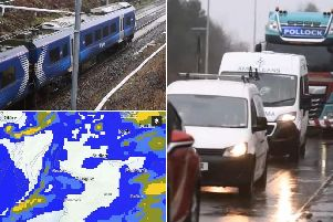 Footage from the Central Belt shows how the deluge of rain has disrupted travel. Picture: JPI Media
