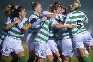 Celtic celebrate Sarah Ewens' equaliser against Glasgow City. Picture: Ross MacDonald / SNS