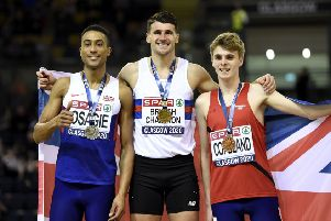 Gold medallist Guy Learmonth with Andrew Osagie (silver), left, and Piers Copeland (bronze). Picture: PA.