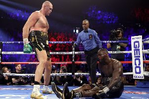 Tyson Fury floors Deontay Wilder in the fifth round on the way to his WBC heavyweight victory in Las Vegas at the weekend. Pictyre: Al Bello/Getty Images