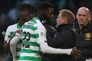 Celtic manager Neil Lennon with Odsonne Edouard. Picture: Andrew Milligan/PA Wire
