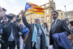 Former Catalan politician and University of St Andrews professor Clara Ponsati, with lawyer Aamer Anwar, leave Edinburgh Sheriff Court after an extradition hearing on a charge of sedition (Picture: Jane Barlow/PA Wire)