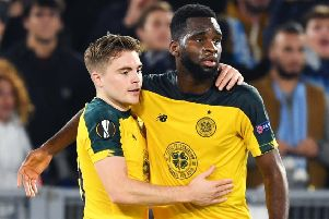 James Forrest, left, says he is loving playing with Celtic team-mate Odsonne Edouard. Picture: Craig Williamson/SNS