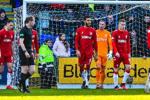 The Rangers players react after St Johnstone score their equaliser in Sunday's 2-2 draw
