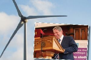 Donald Mackay, who has been involved in leading the Lewis Wind Power (LWP)  projects  in Lewis, sets out his view to the Gazette of how these developments can be the catalyst to unlock a thriving future for the Islands.  He is pictured giving his keynote speech at the Lews Castle College UHI graduation ceremony.