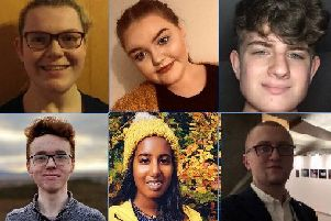 Pictured from left to right are: Kelly Mackay, Maria McGoldrick, Alexander Morrison, (below) Andrew Muncaster, Sakshi Ortchison and Cameron Thompson.