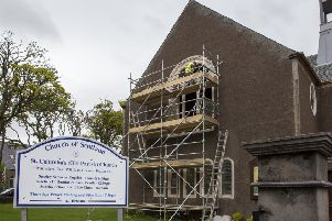 Work is moving ahead to restore the windows at St Columba's in Stornoway. Photos by Sandie Maciver of SandiePhotos