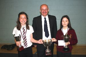 Presenting the prizes to Stornoway Primary's 2019 Dux of the School and Proxime Accessit.
