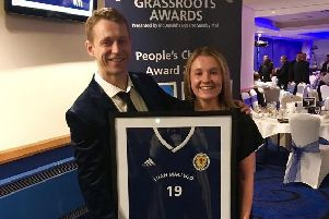 Euan with Jo Murphy after winning his award in Glasgow.