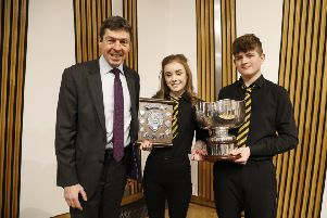 The winners of the 2018 competition were Hannah Macleod and Sandy Morrison from the Nicolson Institute, alongside Presiding Officer of the Scottish Parliament, Rt. Hon Ken Macintosh MSP.
