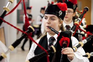 Eilidh MacLeod at Scottish Schools Pipe Band Championships 2017.