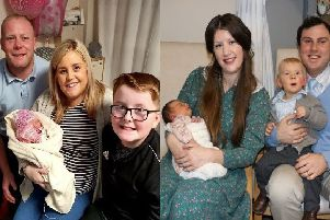 Pictured left is little Charlotte Elizabeth with her family, dad Darren, mum Zara and big brother Kai. Pictured right is the Rees-Evans family, mum Ruth, dad Leo and big brother Moses with little Beulah Ealasaid.