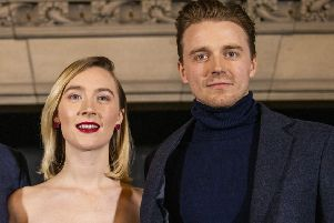 Saoirse Ronan and Jack Lowden at Scotland's premiere of Mary, Queen of Scots in Edinburgh. (Photo by Duncan McGlynn/Getty Images for Universal)