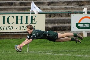 Darcy Graham in try-soring form in Hawick colours (stock image).