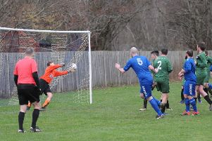 Ryan Pritchard, number five, scores for Selkirk Victoria against Hawick Legion Rovers. He and other committee colleagues are focused on creating a community football squad for Selkirk (picture by Bill McBurnie).