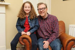 Selkirk child actress Mimi Robertson with dad Mark.
