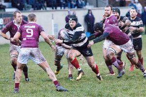 Committed attention to the action by both sides, each in their familiar colours - Gala in maroon and Kelso in black and white (picture by Gavin Horsburgh).