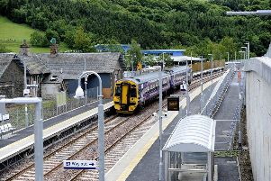 A train on the Borders Railway at Stow.