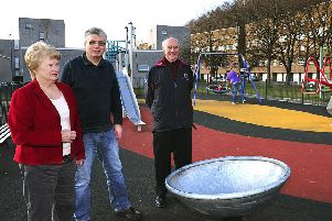 The opening of the new play park in 2012: From left, Judith Cleghorn, chair of langlee residents association, Gerry Moss, chair of waverley tenants organisation and then Galashiels councillor John Mitchell.